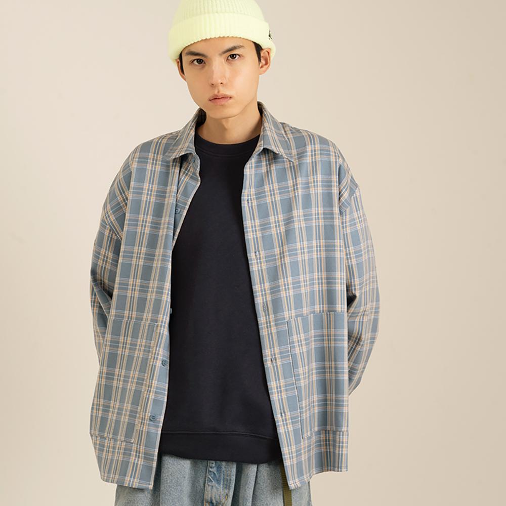 Nought Pocket Check Shirts / Light Blue