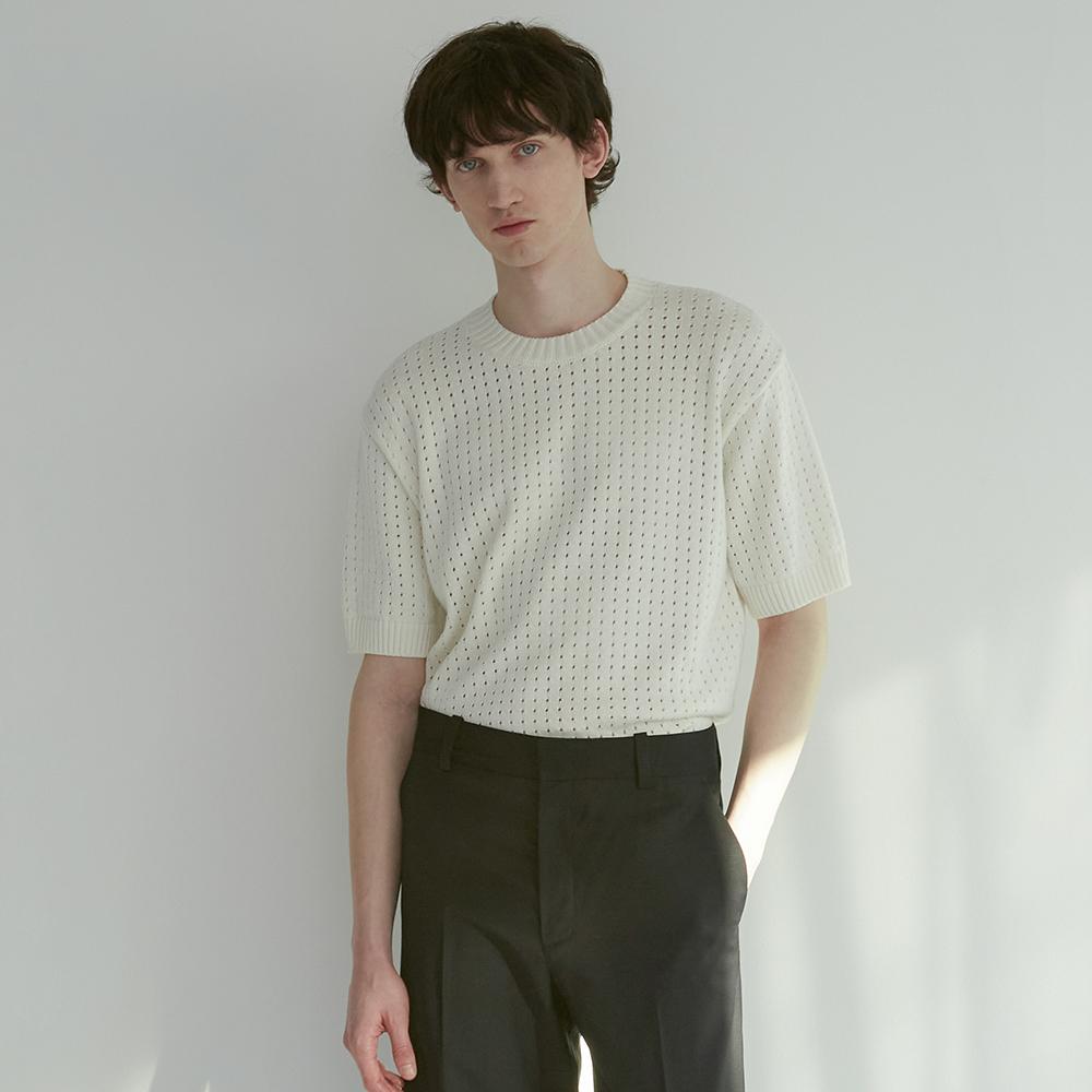 [Men]Textured Short Sleeve Sweater_IVORY