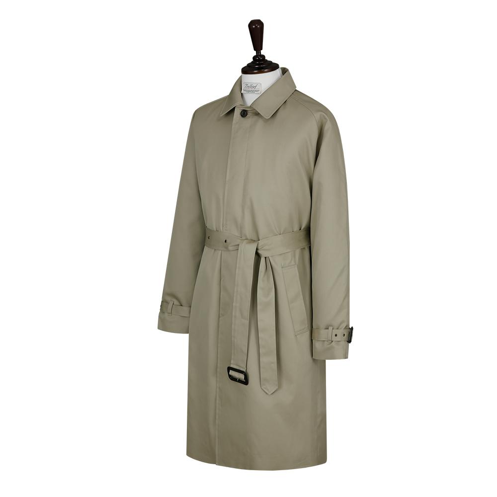 Gaberdine cotton Balmaccan Coat (Light Olive)