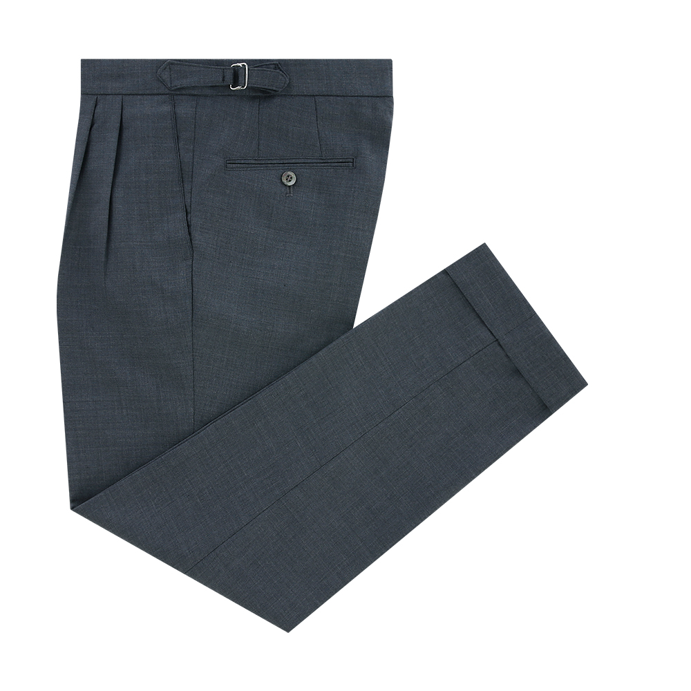 Wool soft two tuck adjust pants (Grey)