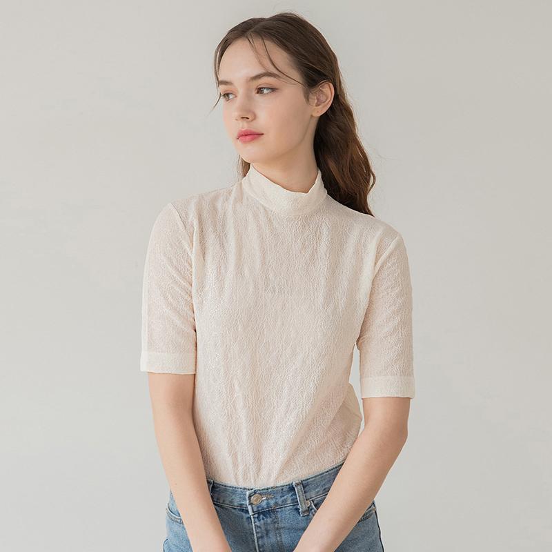 [클렛] Lace Half Sleeve T Cream