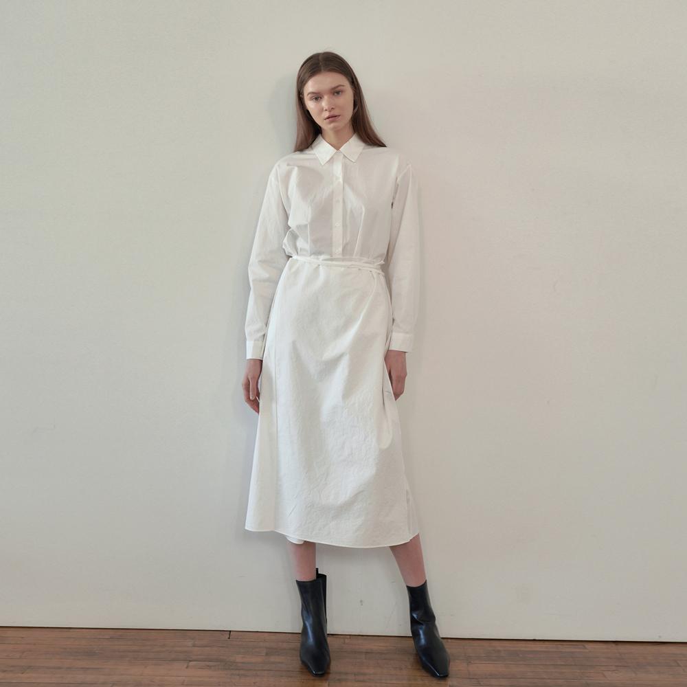 Shirts wrap long Dress - White