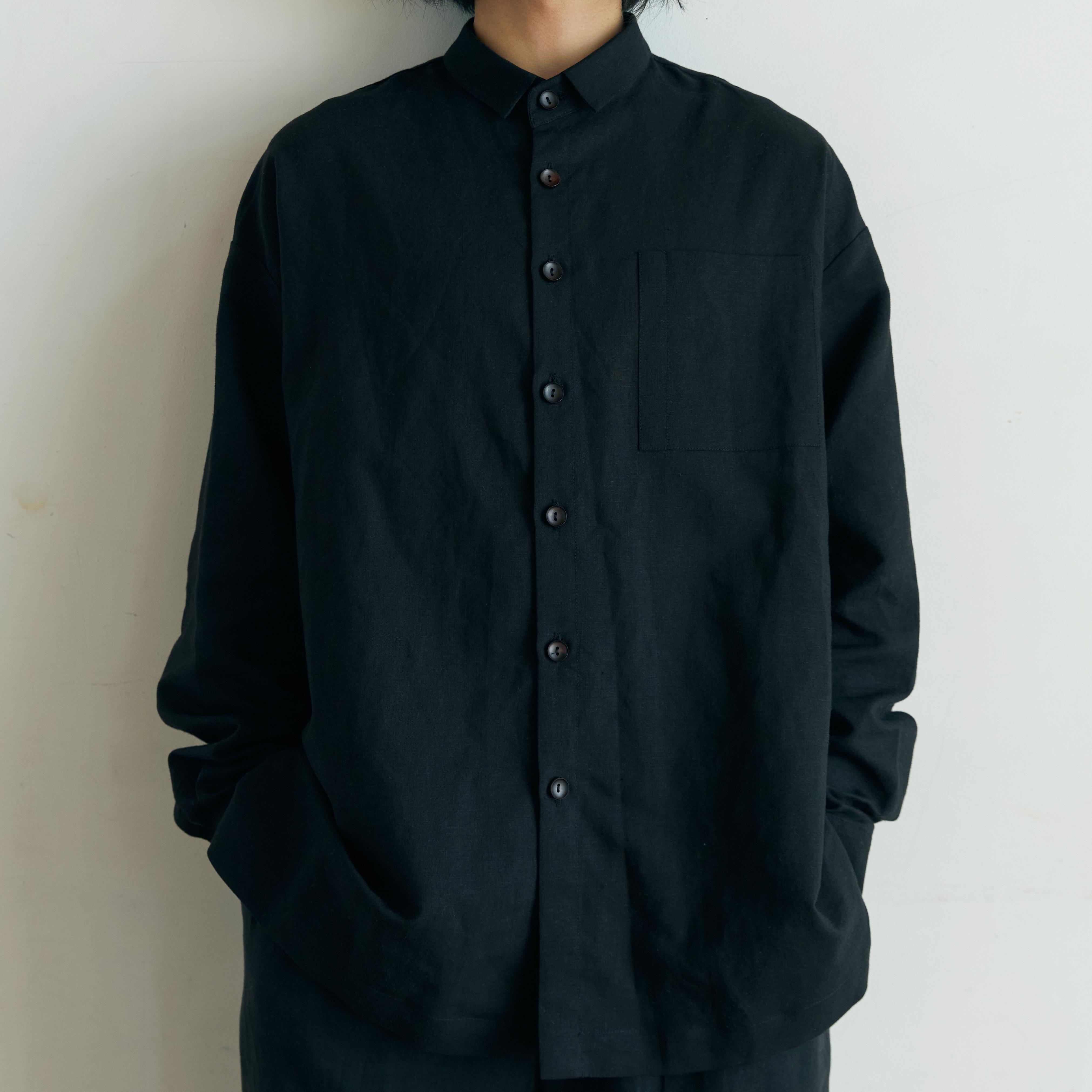 unisex short collar shirts black