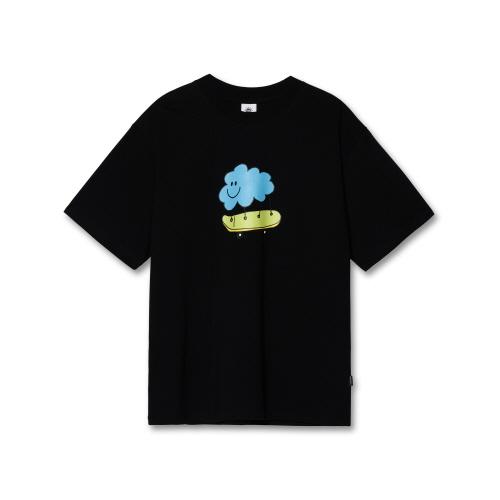 [도미넌트] 구름 스케이트보드 오버핏 반팔 티셔츠 블랙