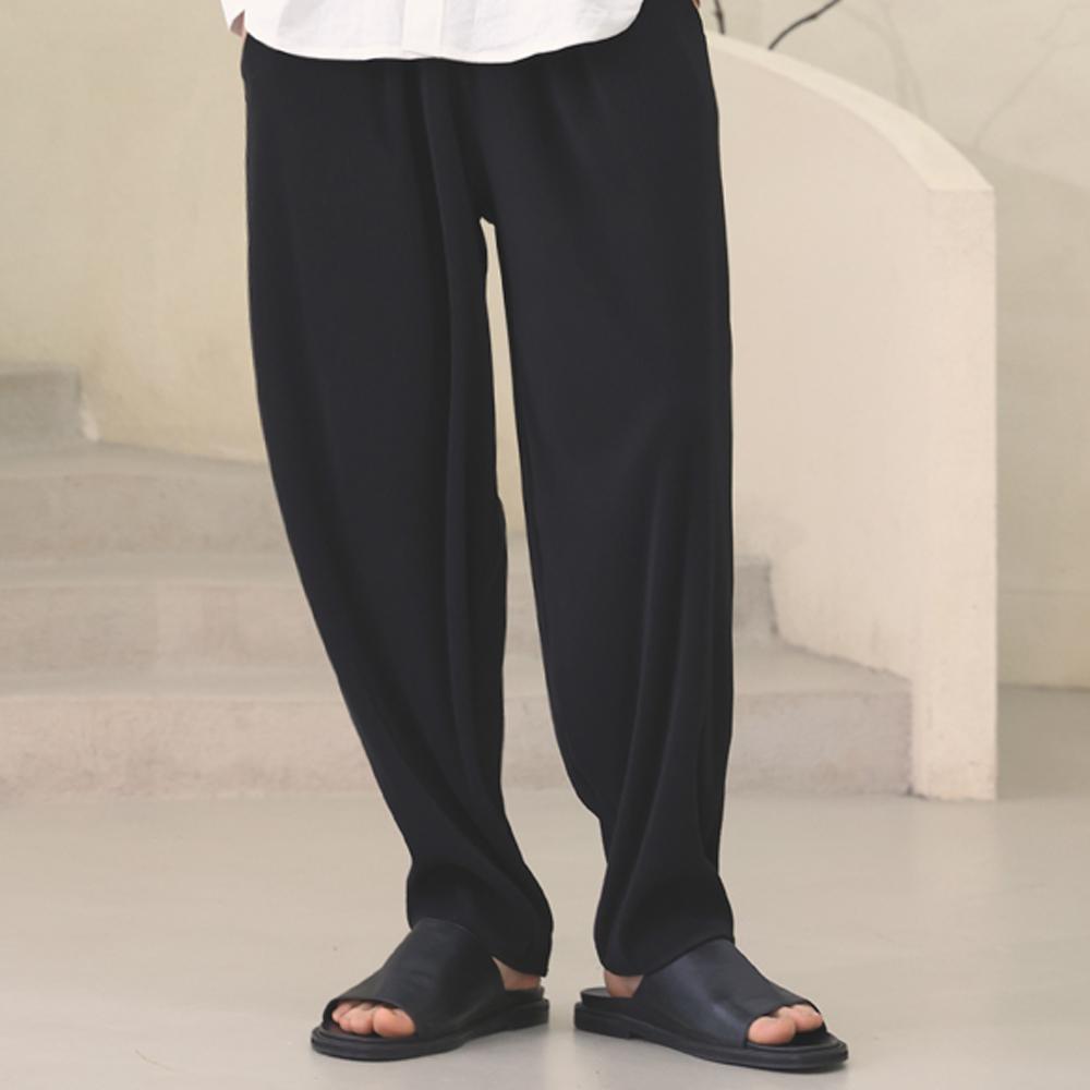 cool pleats banding pants [oversize fit]_black_남녀공용