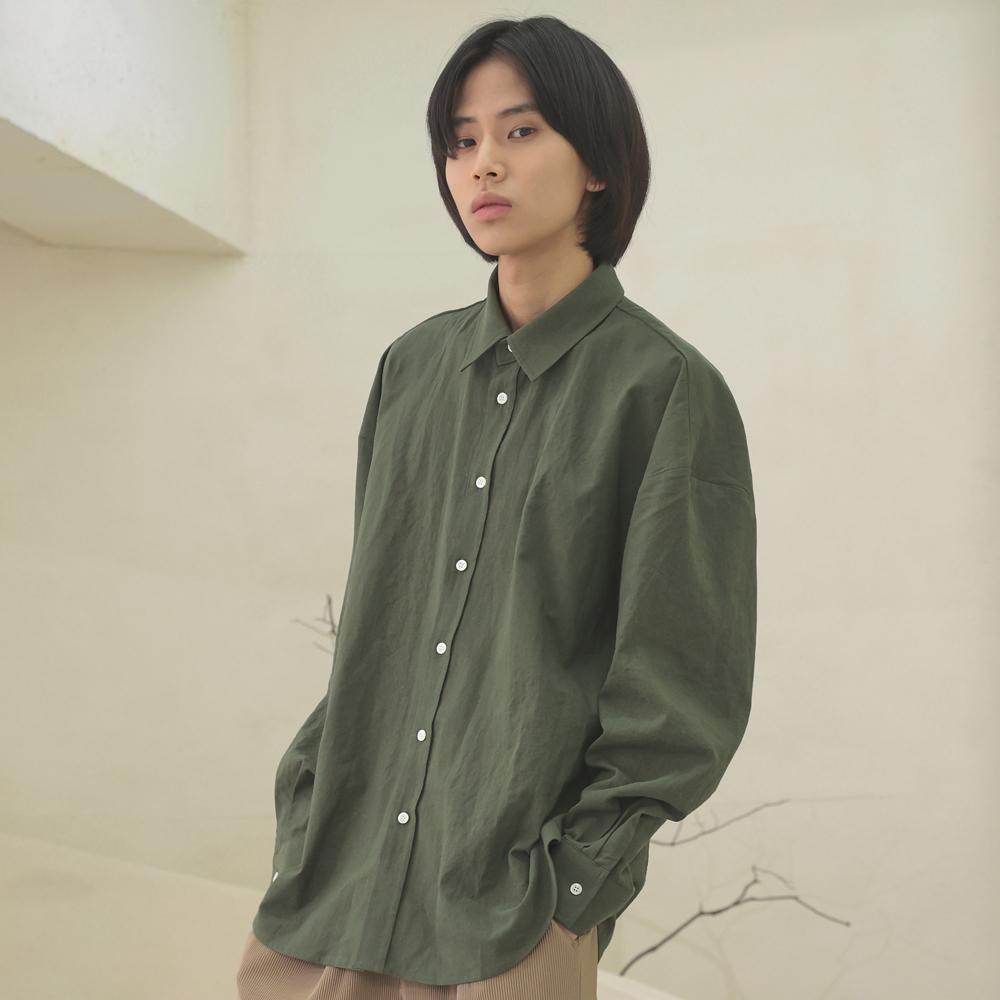 linen shirts [oversize fit]_khaki_남녀공용