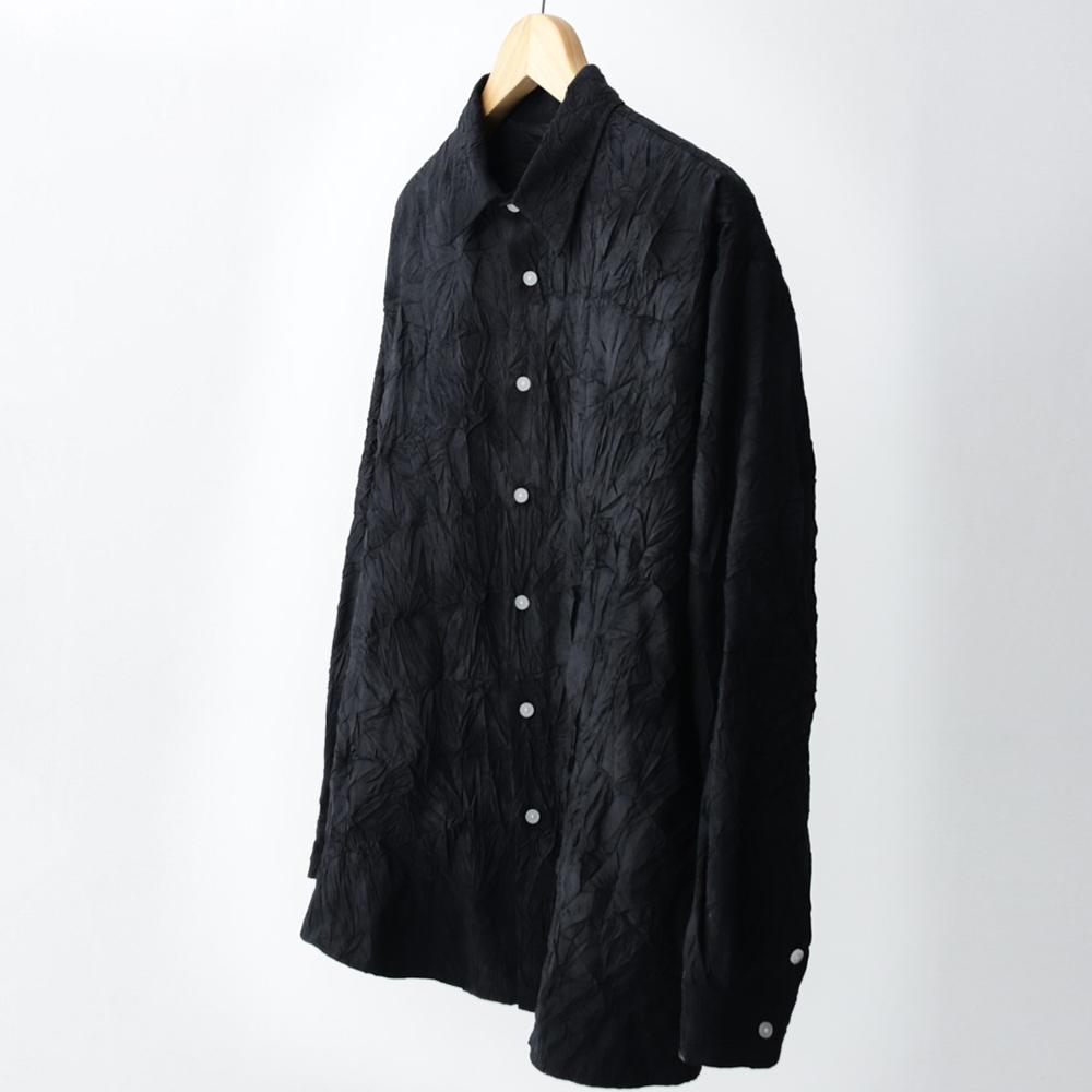 irregular wrinkled shirt (black)
