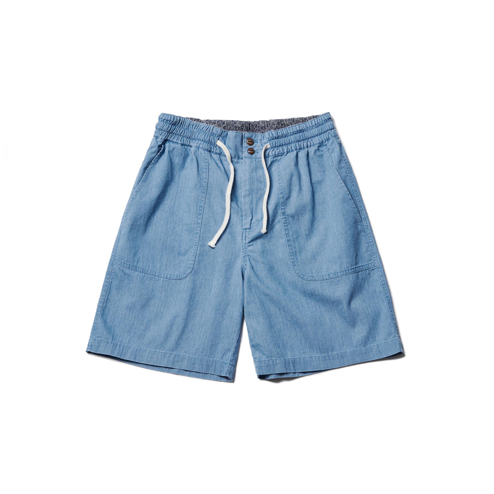 Minute Stripe Washed Half Pants Light Blue