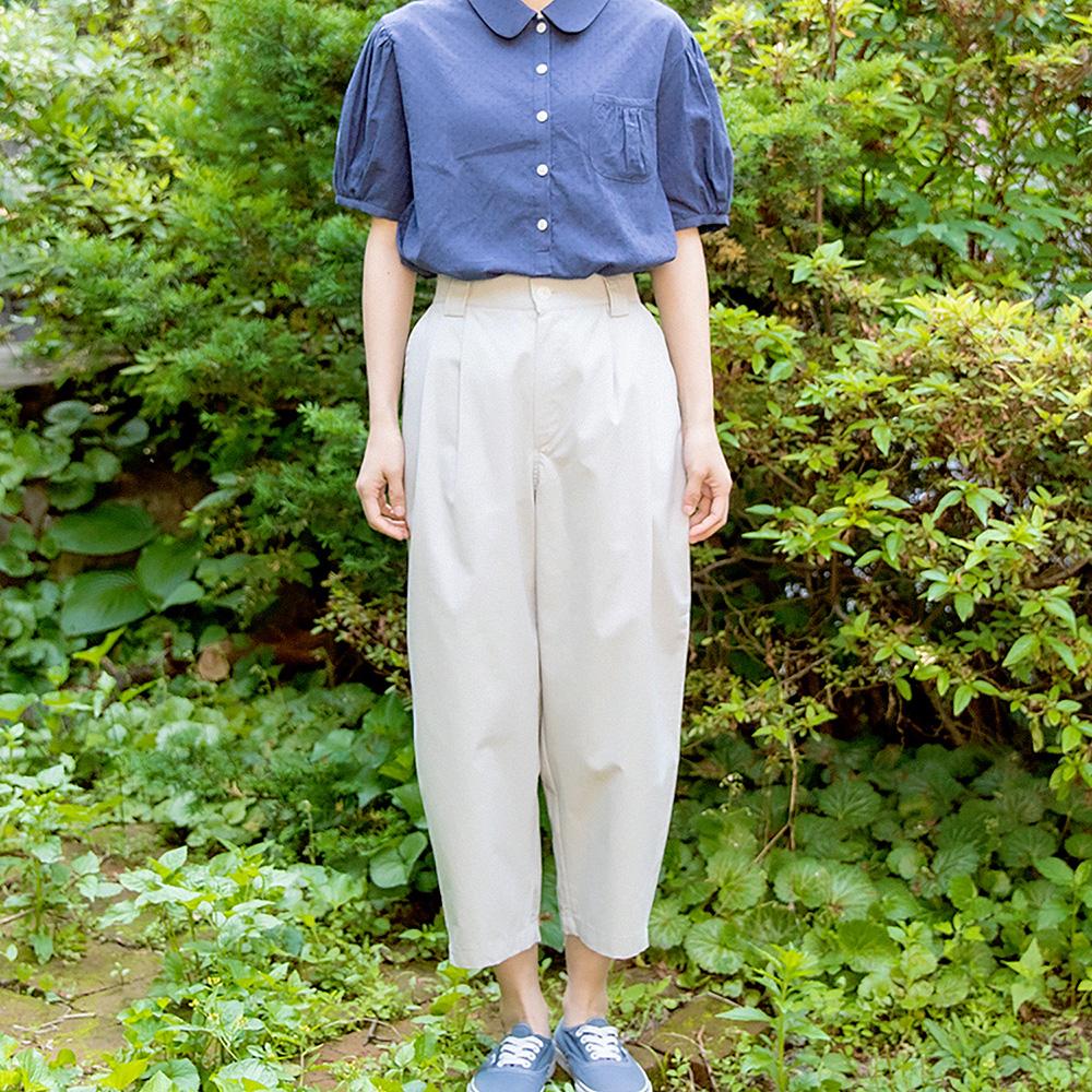 Wide Slim Cropped Pants - Gray