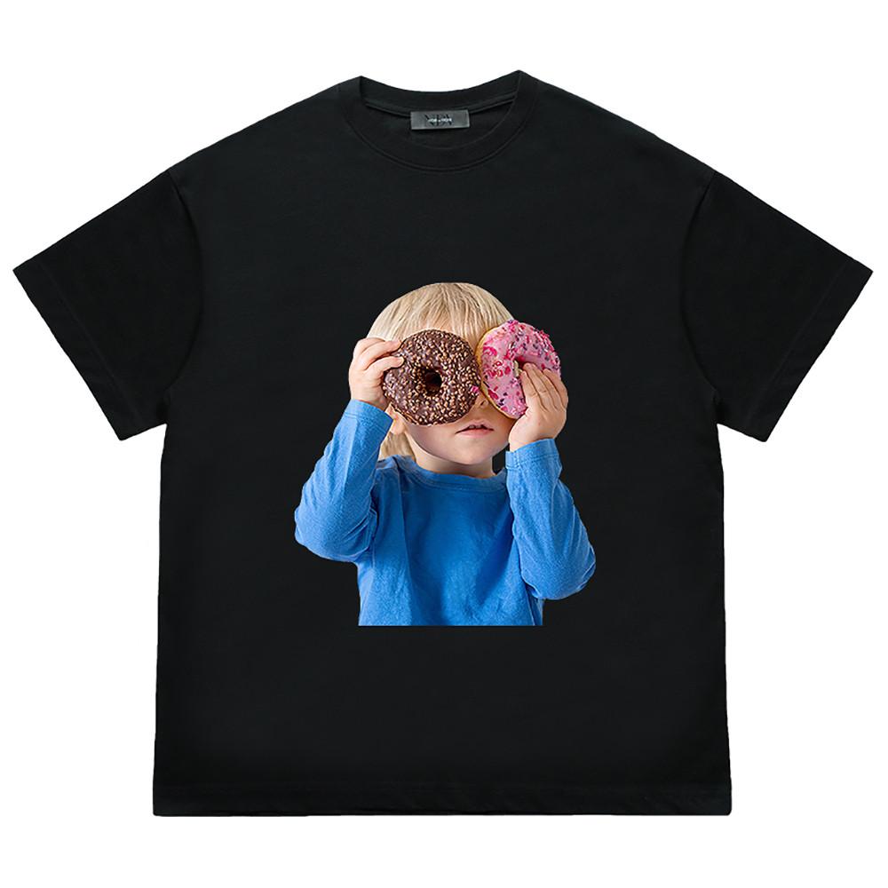 [누아드비뉴]  Two Donut Child Short sleeve T-shirts (Black)
