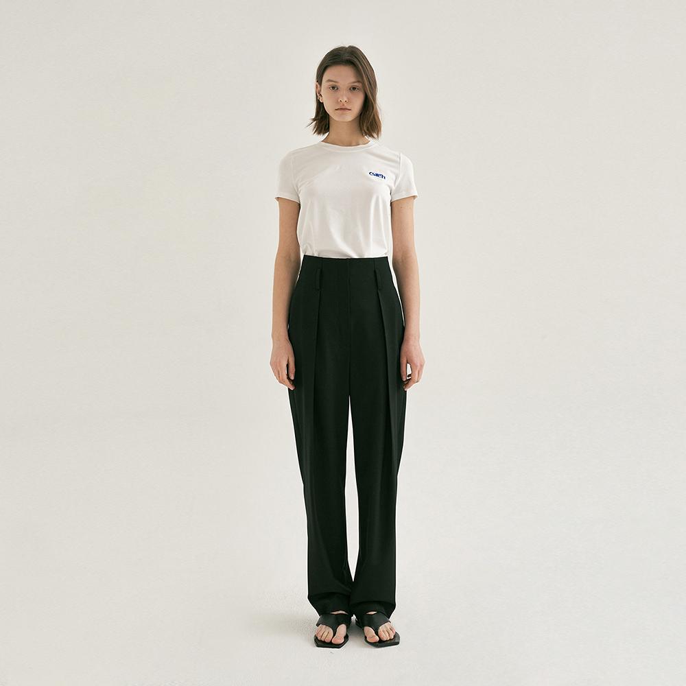 HIGH-WAISTED TUCK PANTS (Black)