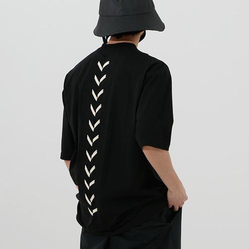 백 레이스업 반팔 티셔츠 V21 (블랙)_ PB1TS2121