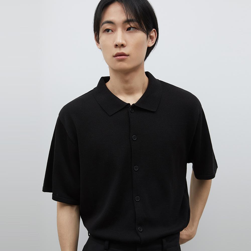 게일 온오프 니트 셔츠 [블랙]