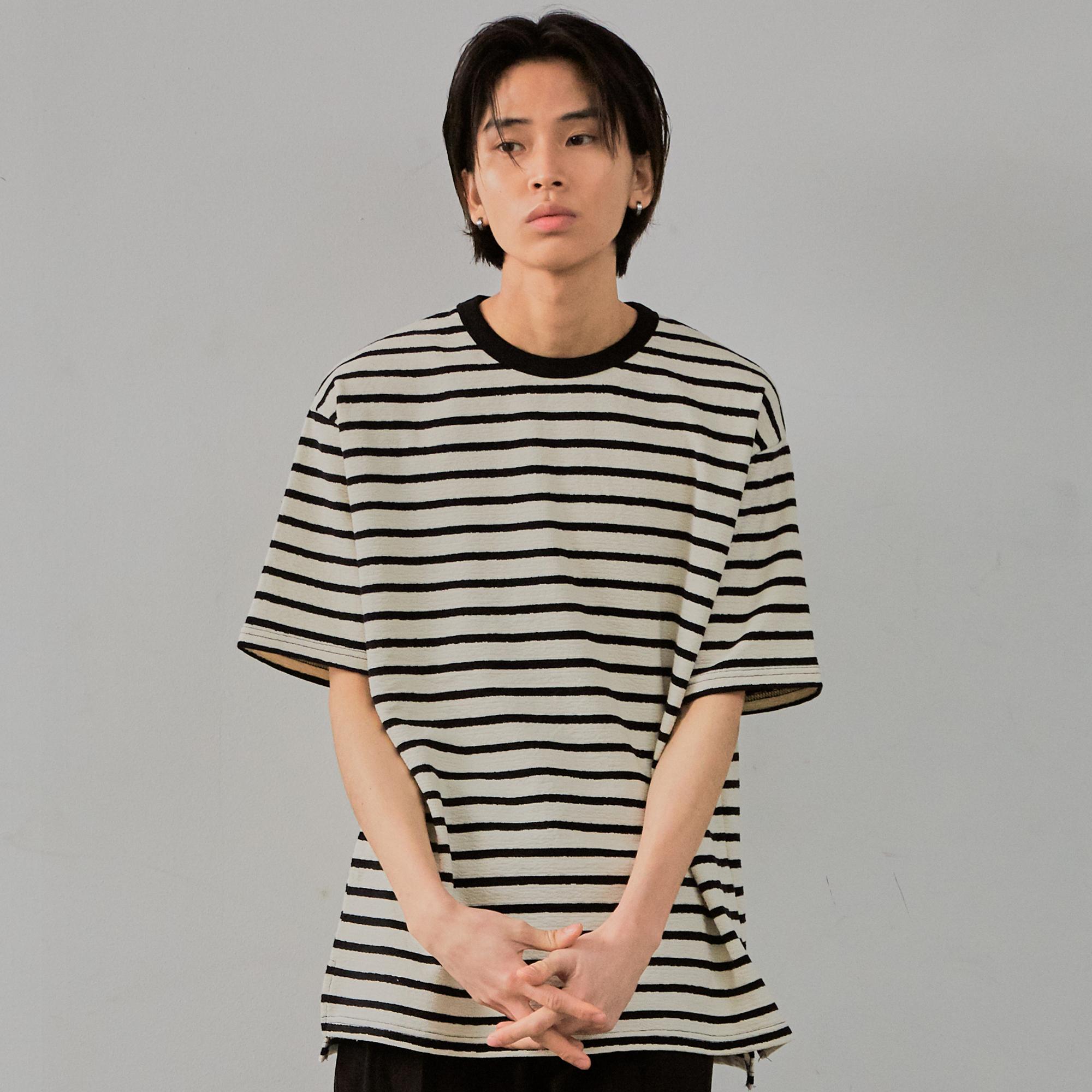 Stripe Terry T-shirt (Short Sleeves)_White