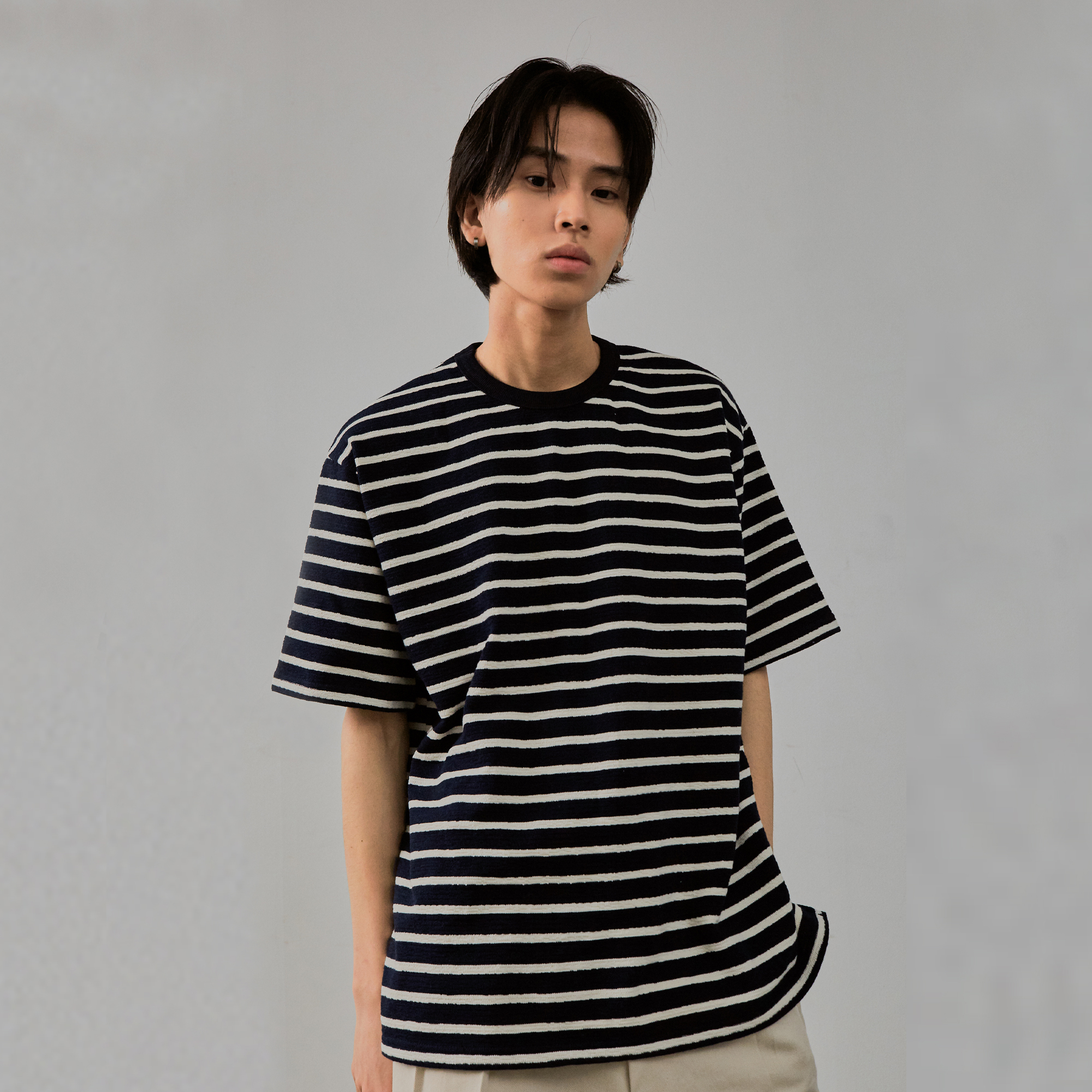 Stripe Terry T-shirt (Short Sleeves)_Navy
