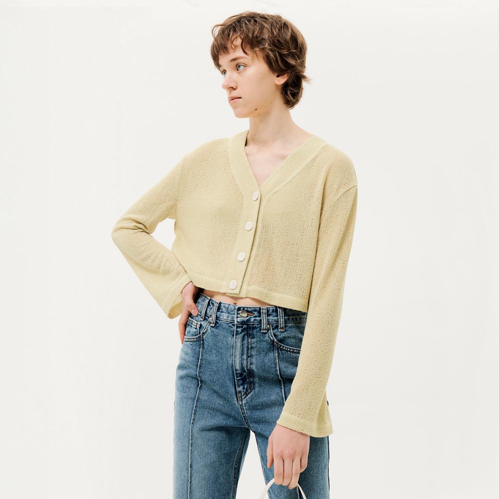 Cropped Sheer Cardigan Yellow