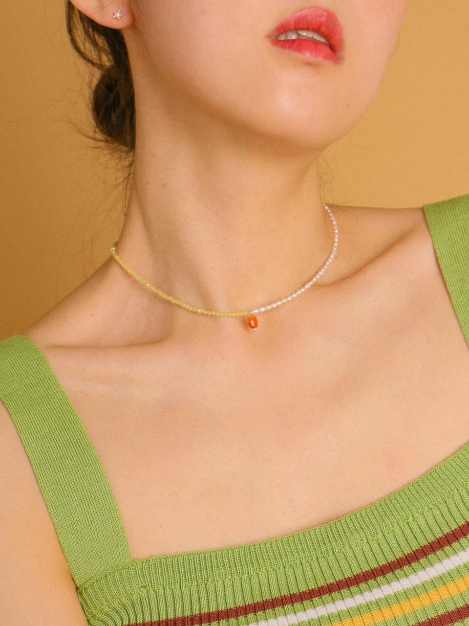 [유니제이] Carnelian Point Jade & Fresh-Water Pearl Silver Necklace222 [Silver]
