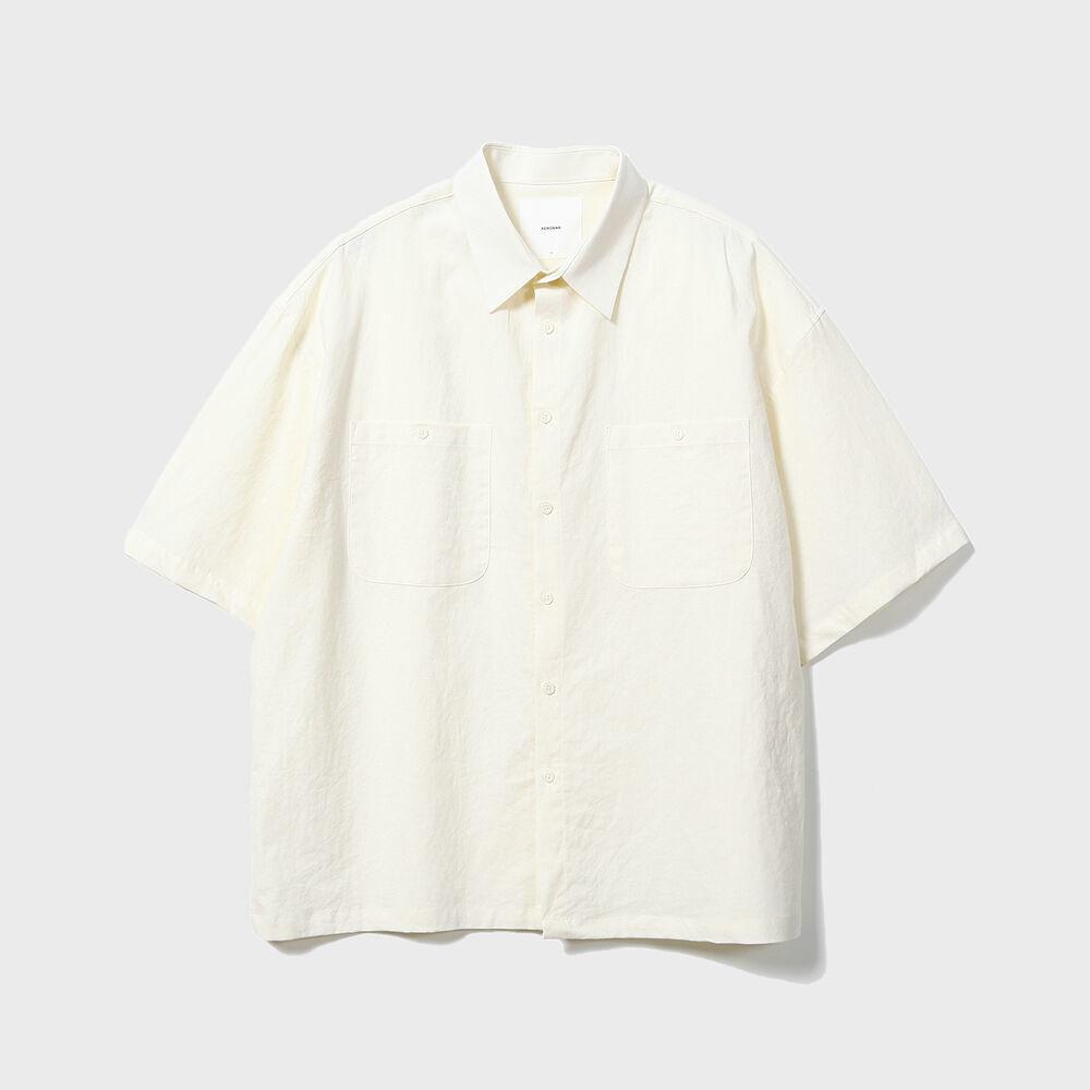 Solid Linen Box Shirts [Cream]