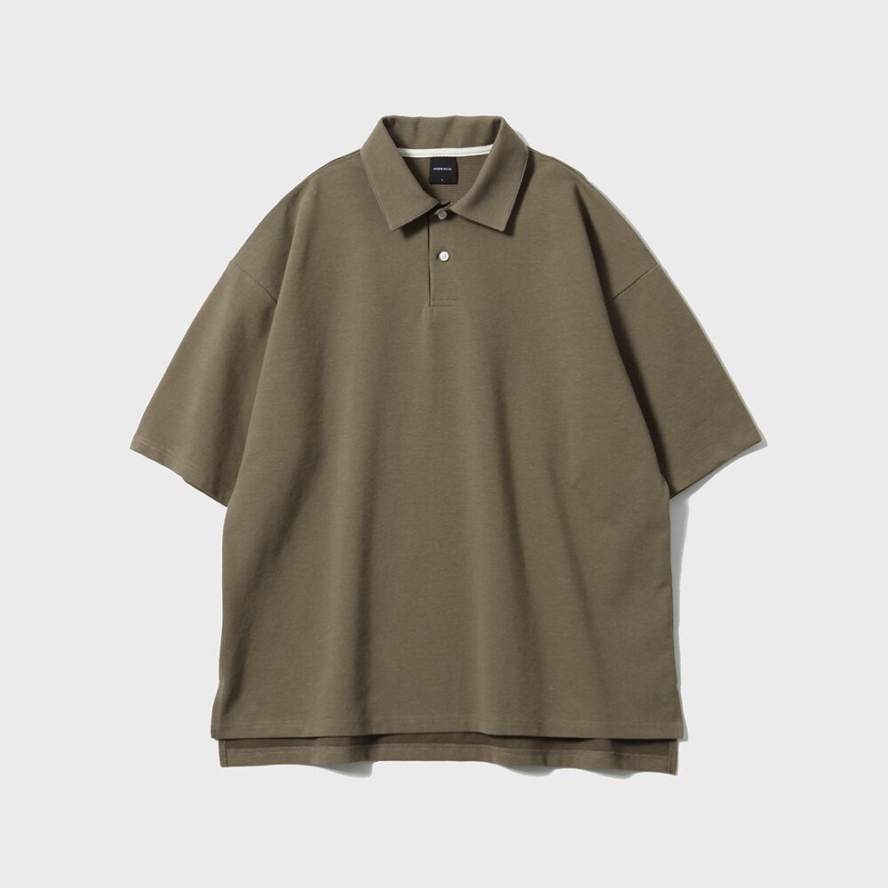 Width Grain Polo Shirts [Brown]