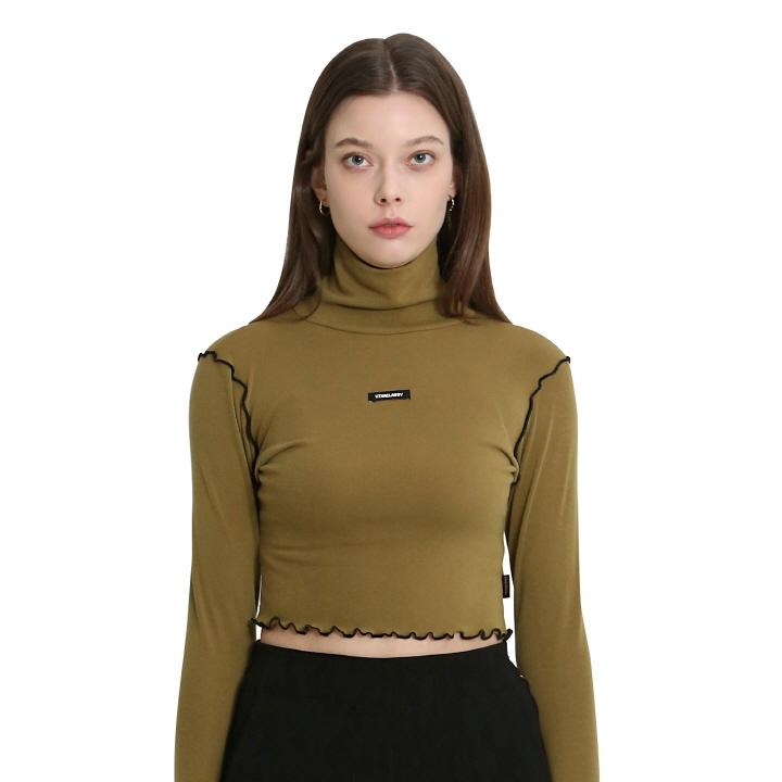 [비바클래시] 터틀넥 크롭 티셔츠 올리브 그린