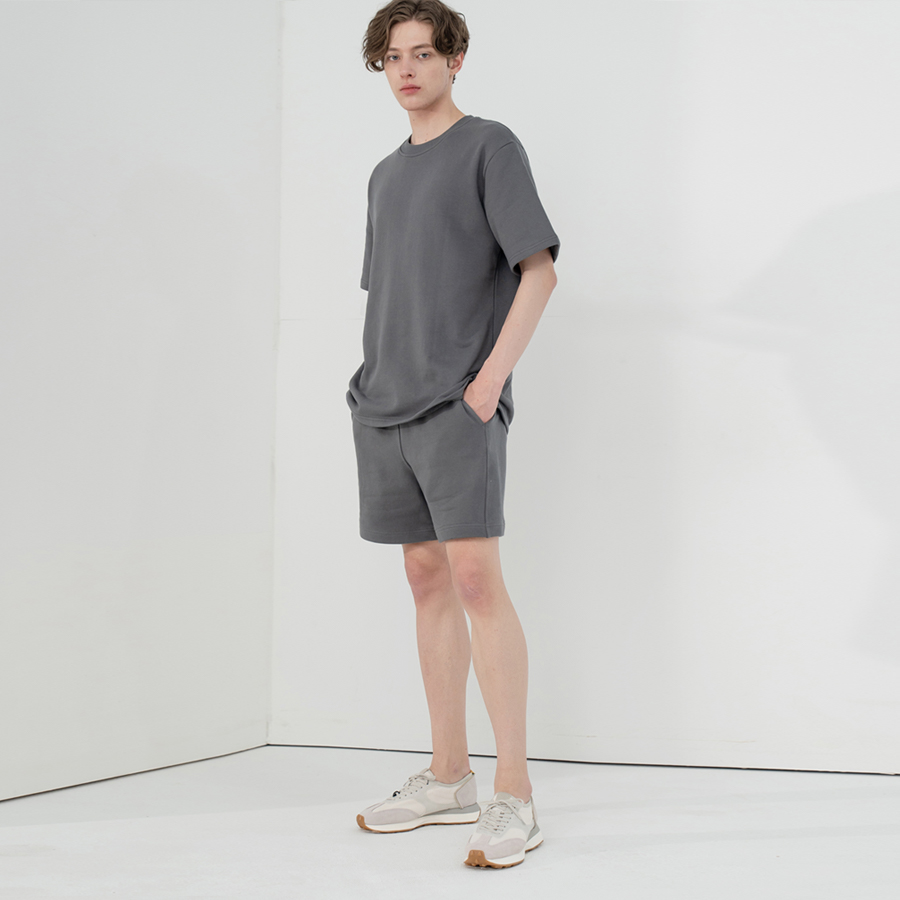 SHORT SLEEVE SWEAT SET-UP_CHARCOAL
