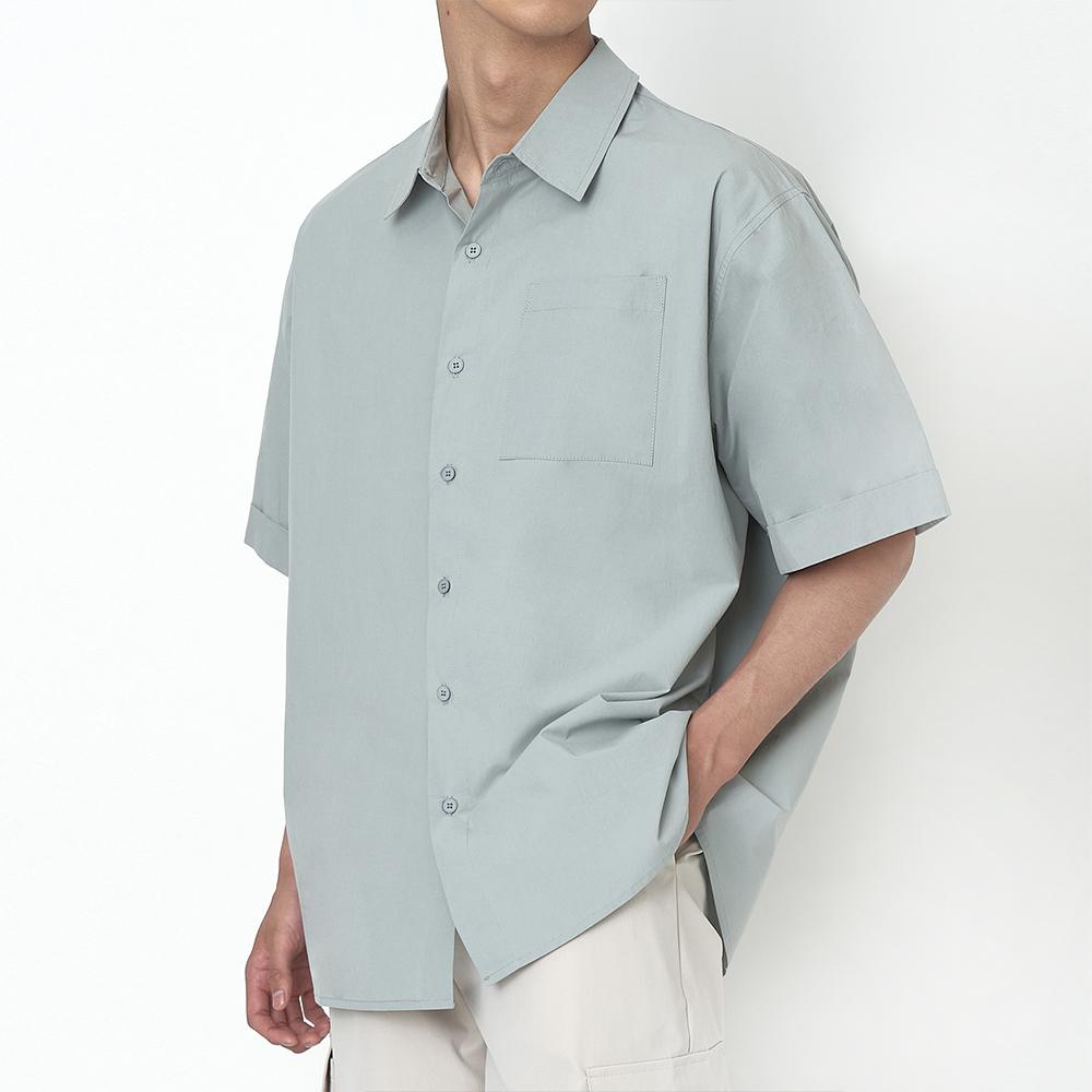 오버핏 롤업 셔츠 진그레이