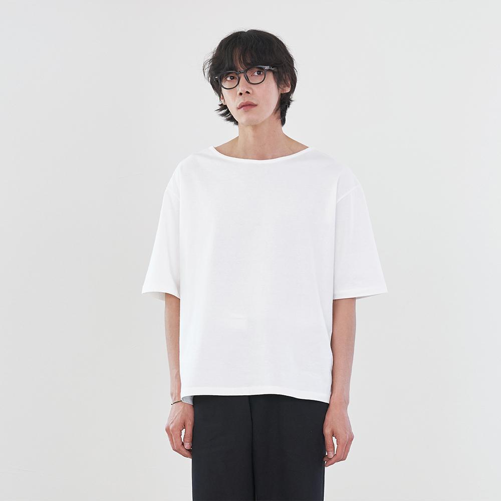 오디너리 숏 슬리브 보트넥 티셔츠_Ivory