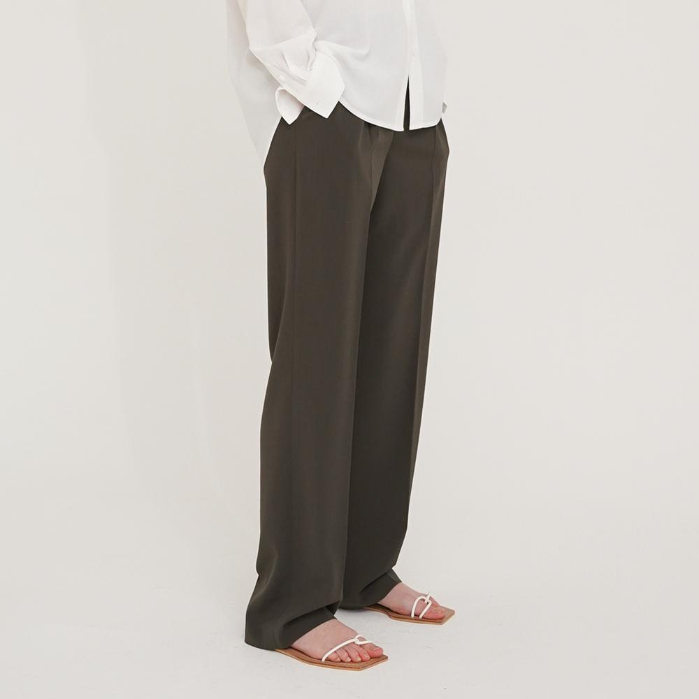 [아웃셀] Tuck wide leg pants Khaki brown