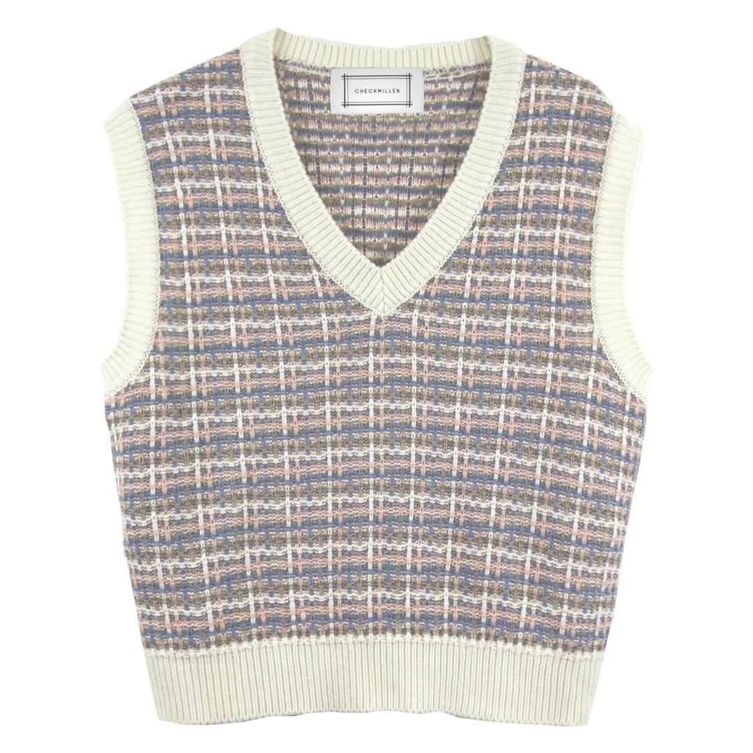 V-neck Tweed Knit Vest