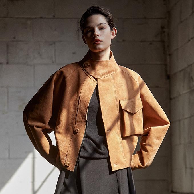 suede blouson jacket_CAMEL