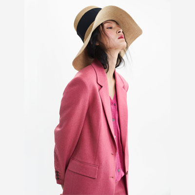 pink herringbone jacket