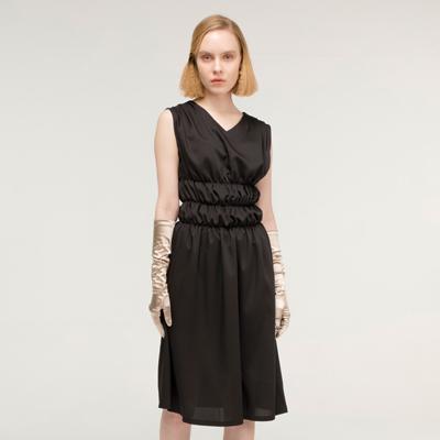 Waist shirring Dress _ Black