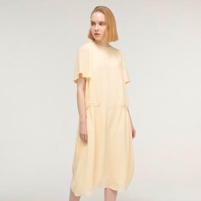 Shirring point Dress _ Light yellow