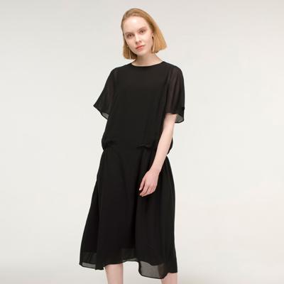 Shirring point Dress _ Black
