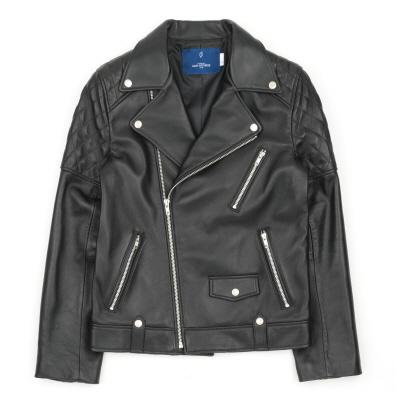 (유니섹스) 퀄리팅 램스킨-클래식 라이더 재킷 (블랙)