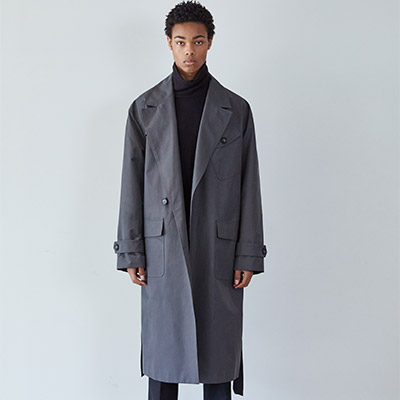 ROBE POINT GUN PATCH TRENCH COAT(CHARCOAL GRAY)