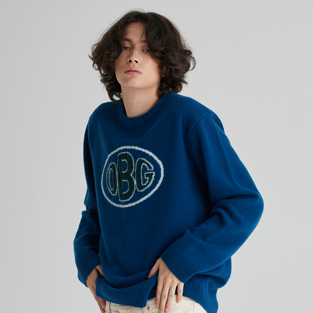 OBG 로고 니트 BLUE