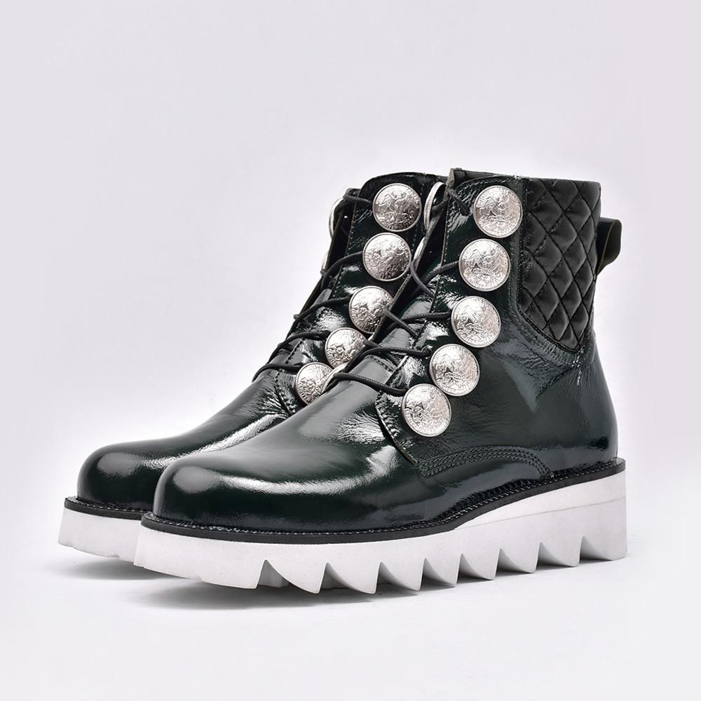 Silver Stud Embo Walker Boots _ Dark Green