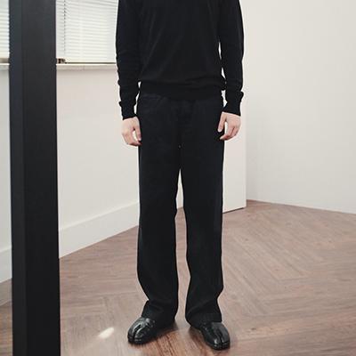 String denim pants black