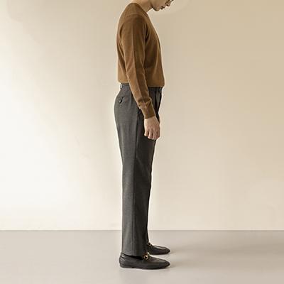 [단독 20%세일] One Pleat Tapered Trousers - Charcoal Grey (Hidden banding)