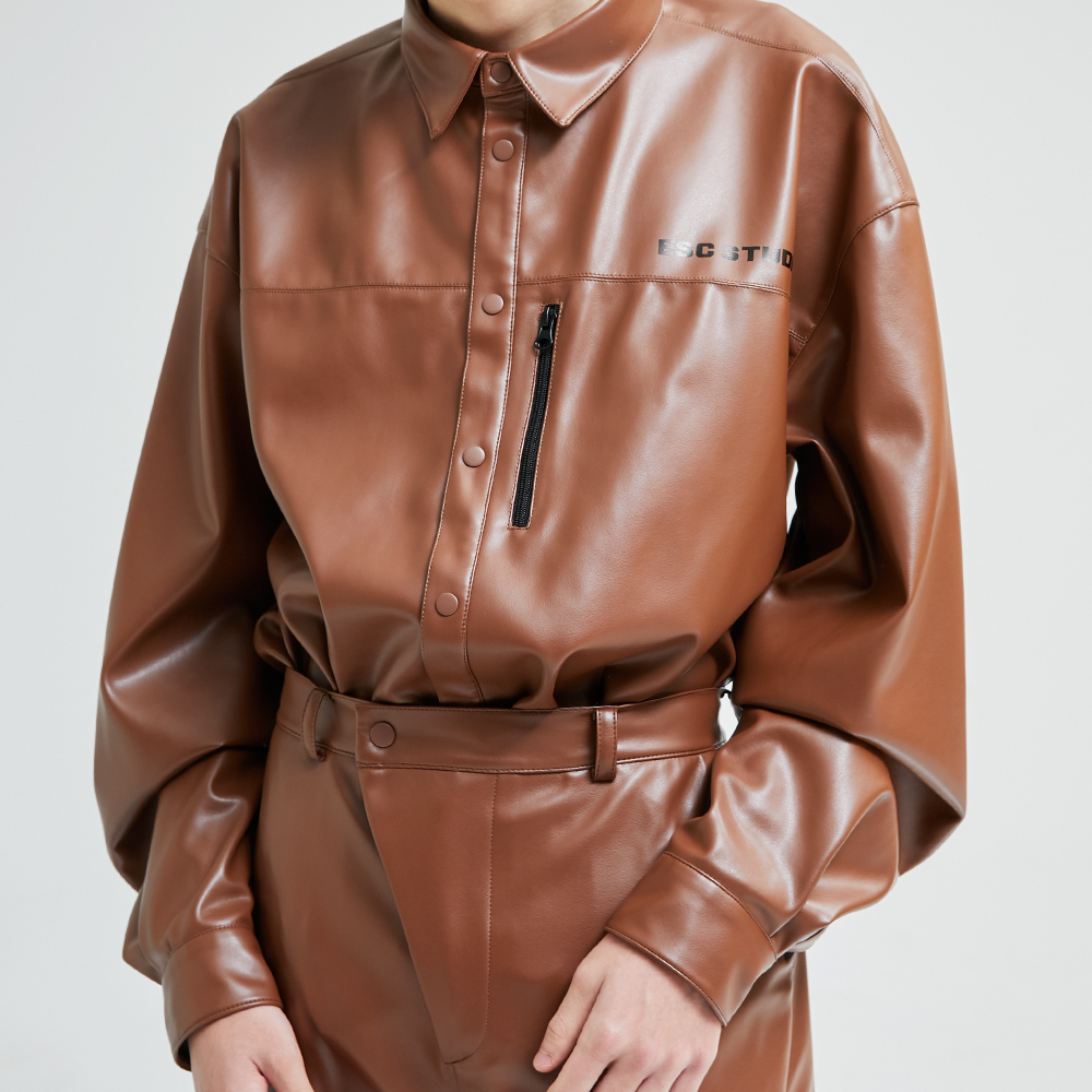 Leather camel shirt