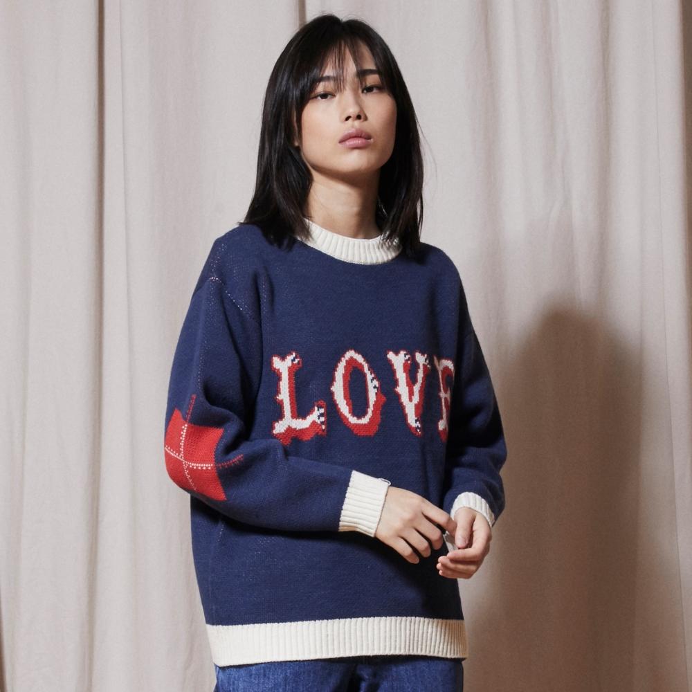KN052_LOVE Crewneck Knit_Blue