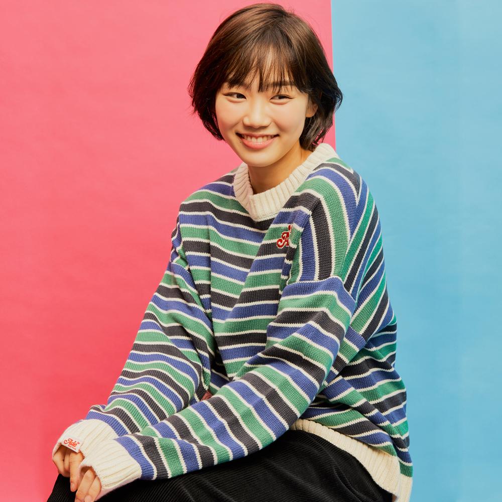 [단독 50%세일] AKN009_Candy Stripe Knit Sweater_Navy