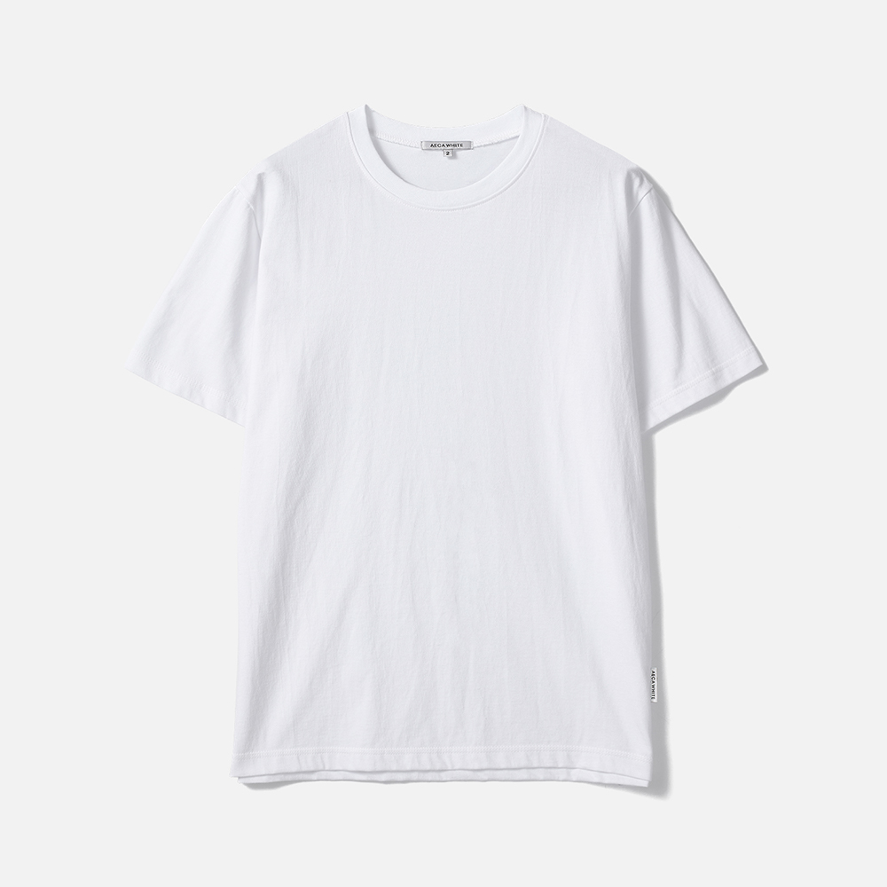 [AECA WHITE]HALF SLEEVE TEE (Premium BASIC)-WHITE