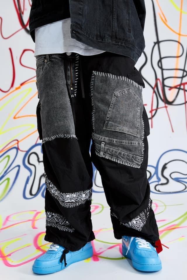 Paisley patchwork cotton jean