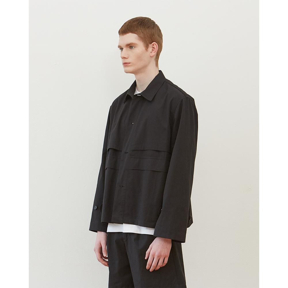 Textured Button Blouson Black