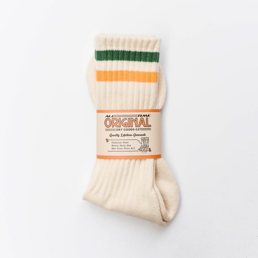 All Time Original Dry Goods - No.s011, JFK Half Pile Socks [Green / Yellow] [올타임오리지널]