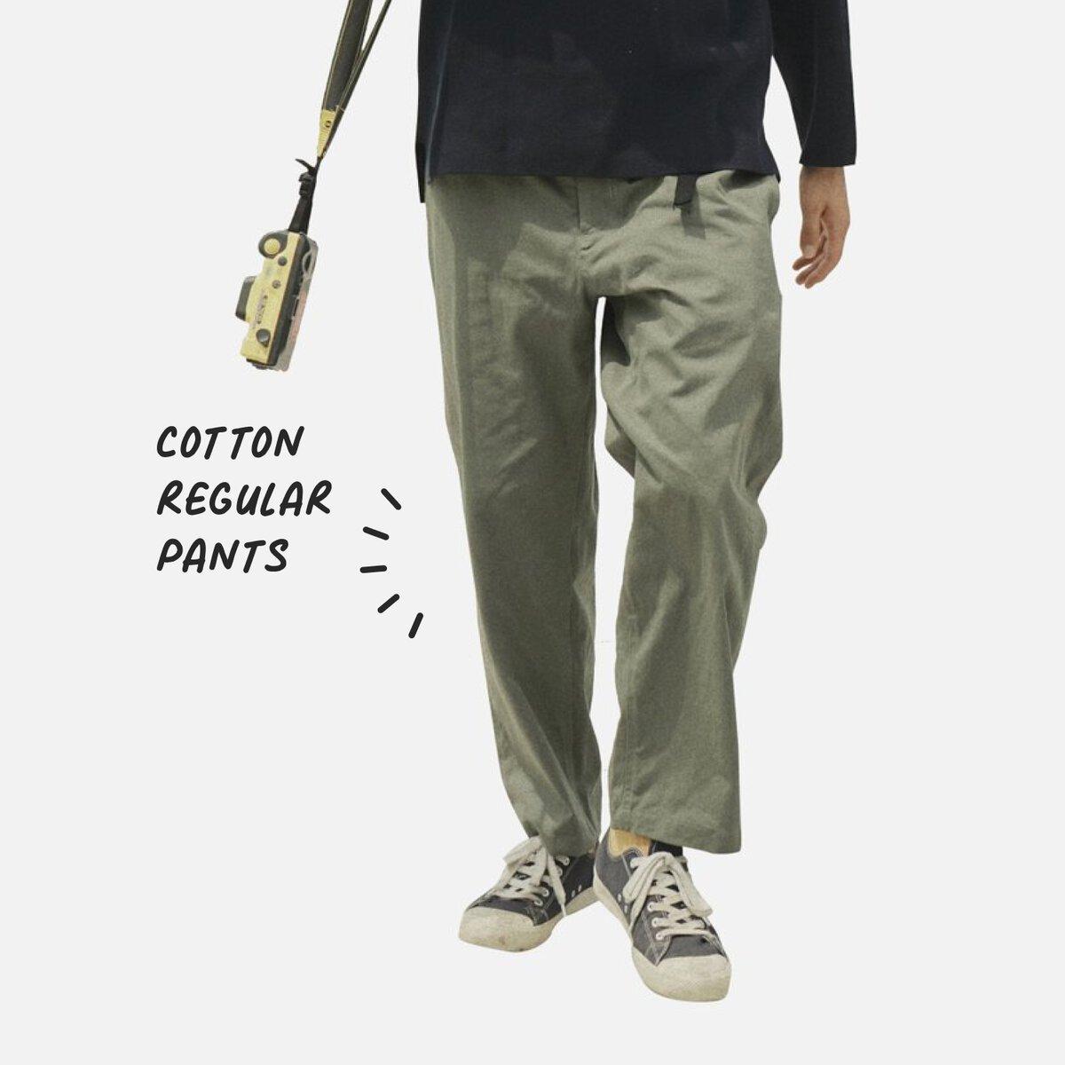 1908 COTTON REGULAR PANTS (OLIVE)