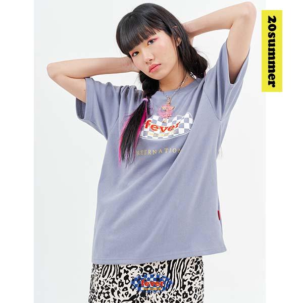 20 체커 티셔츠 SKYGREY