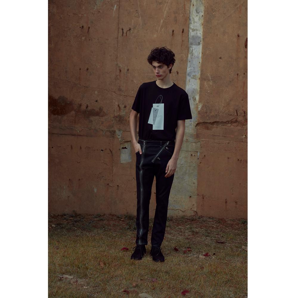 SS20 X-Ray Effect Print Normal Length Black T-Shirt 006
